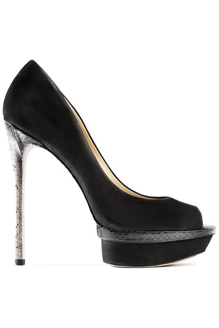 B Brian Atwood Snake-Print Heel Shoes - Black