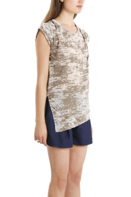 3.1 Phillip Lim Slant Hem Burnout Muscle T-Shirt - Umber