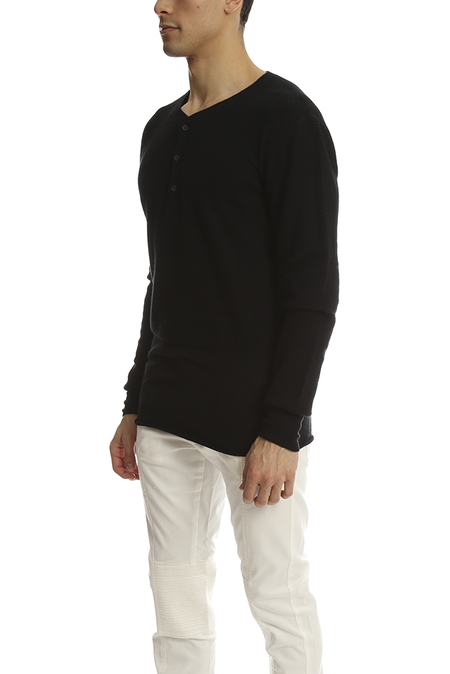3.1 Phillip Lim Incomplete Waffle Henley LS Sweater - Black