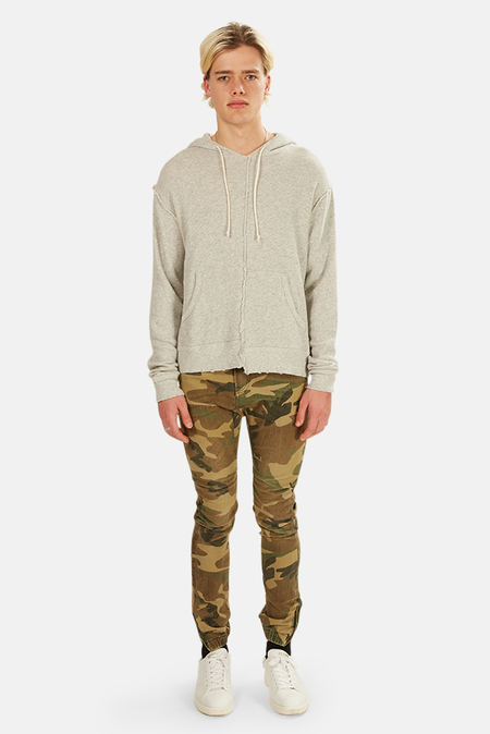 R13 Spliced Hoodie Sweater - Heather Grey