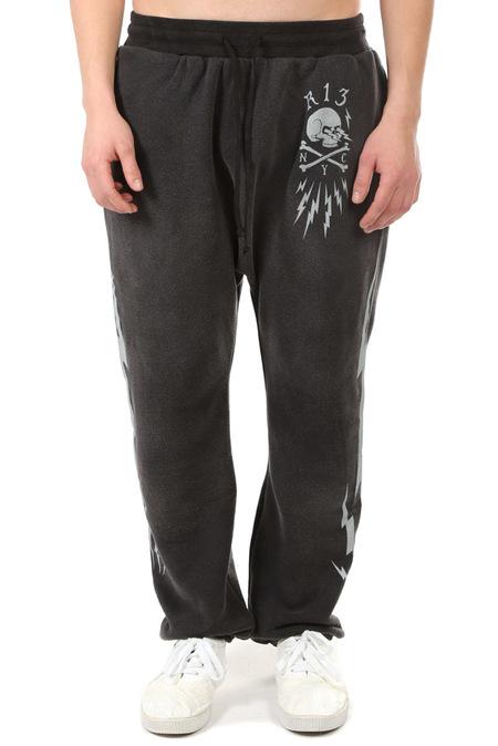 R13 Skull Bolt Field Sweatpants - Acid Black