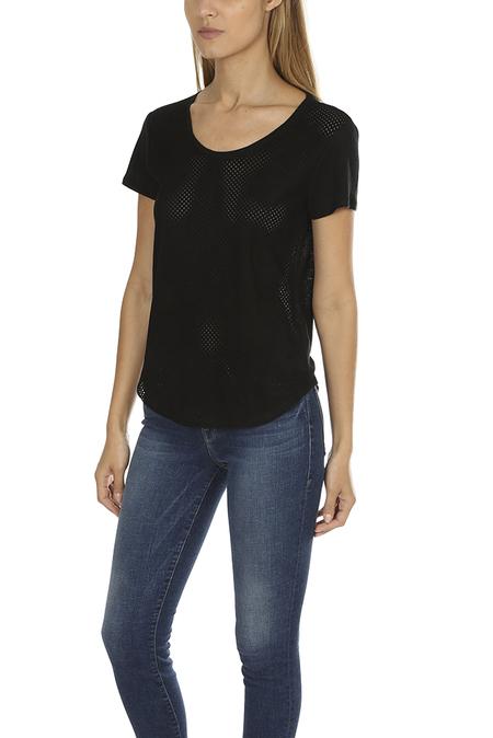 Majestic Filatures Leather Scoop Neck Classic T-Shirt - Black