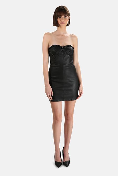 GRLFRND Julietta Leather Mini Dress - Black