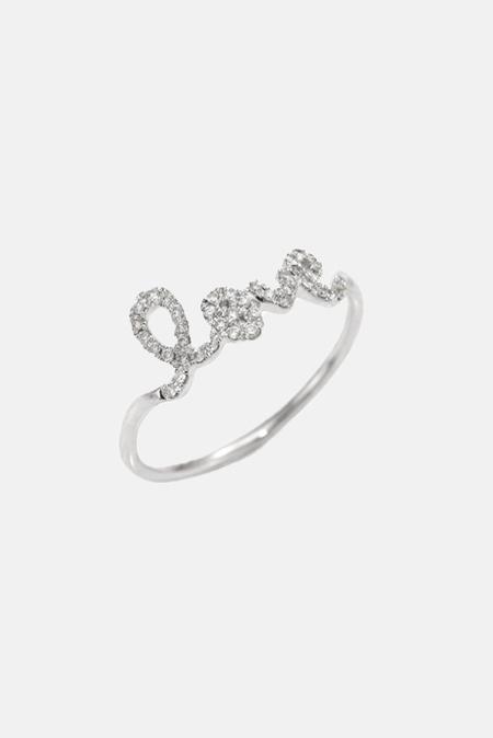 Sydney Evan Pavé Diamond Love Ring - 14k white-gold