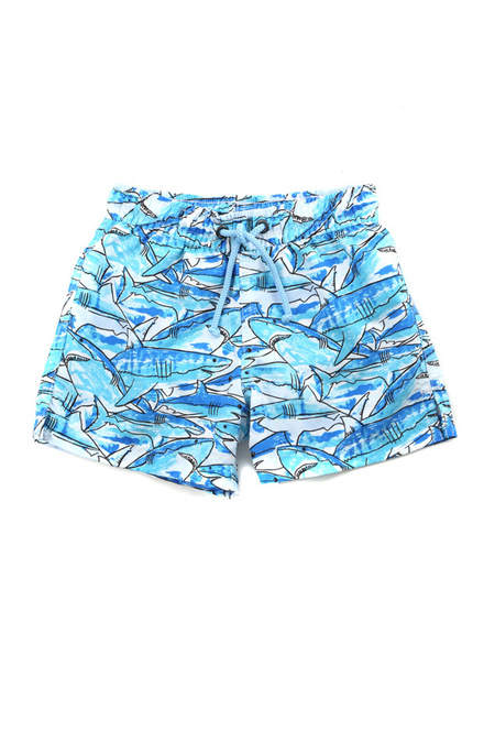 Kids Sunuva Boys Shark Swim Short - Blue