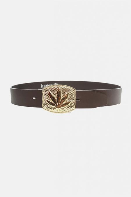 Lucien Pellat-Finet Gold Leaf Buckle Belt - Brown