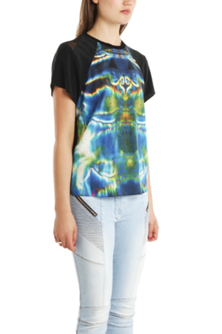 THEYSKENS THEORY 'Ballah Isobek' Print Silk T-Shirt - black multi