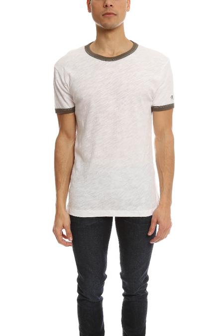 Todd Snyder Short Sleeve Ringer T-Shirt - Vintage White/Olive
