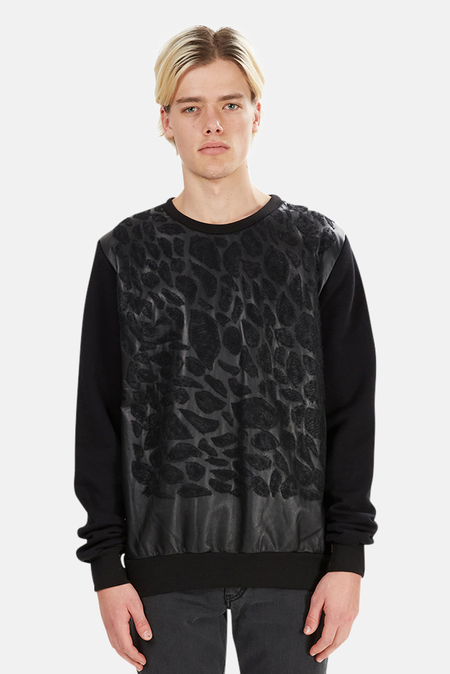 Giorgio Brato Leather Sweatshirt - Black Leopard