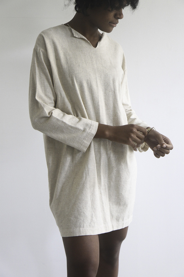 The Shudio Vintage Oatmeal Cotton Shift Dress
