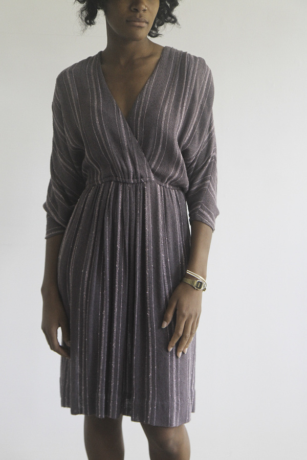The Shudio Vintage Woven Purple Seventies Dress