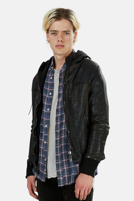 Giorgio Brato Leather Hooded Bomber - Black
