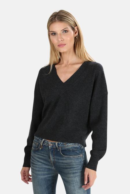 Naadam Cashmere V Neck Sweater - Smoke