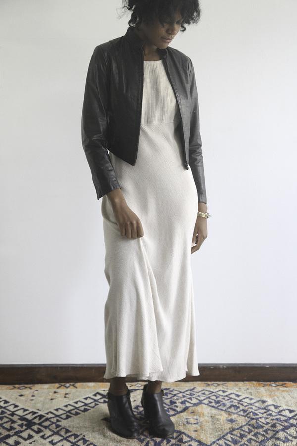 The Shudio Vintage Oatmeal Empire Waist Long Dress