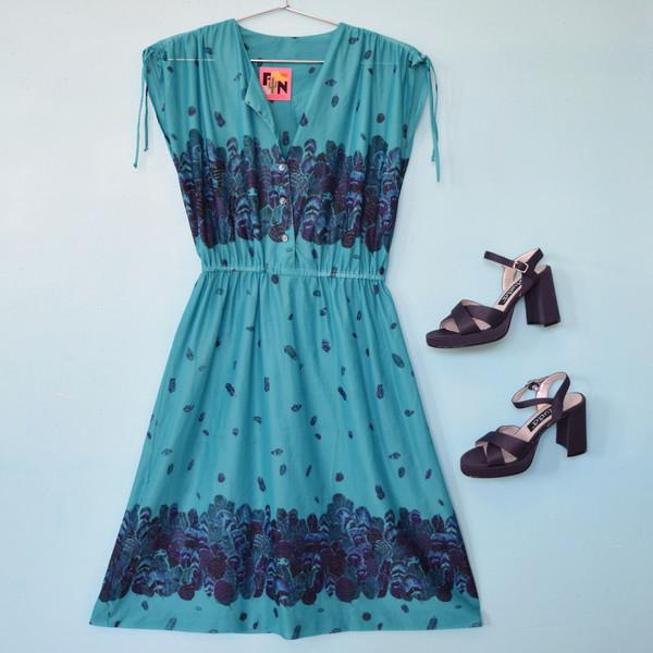 70's Feather Print Disco Dress