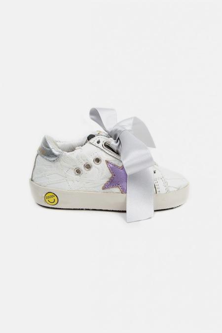 Kids Golden Goose Toddler Superstar Sneaker Shoes - White