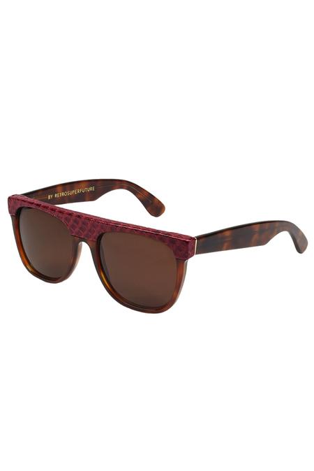 RetroSuperFuture Flat Top Cobra Sunglasses - Brown/Red