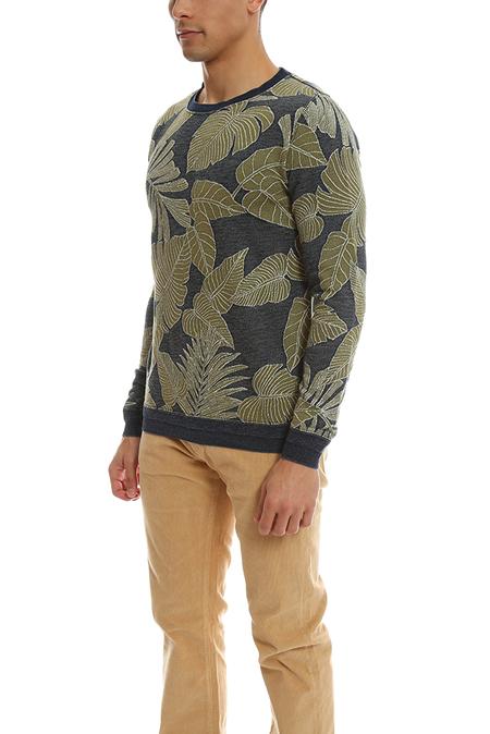 Remi Relief Ingo JQ Leaf Aloha Crewneck Sweater - Blue
