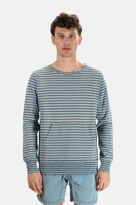 Remi Relief Indigo Border Crewneck Sweater - Indigo