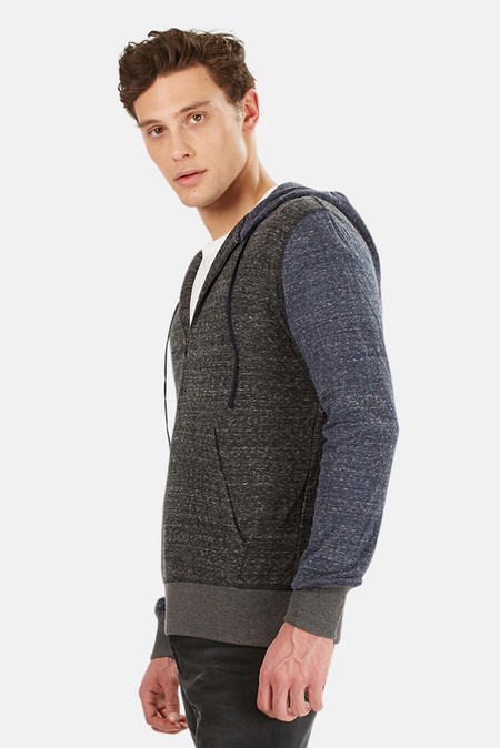 Blue&Cream 1/4 Zip Hoodie Sweater - Charcoal/Navy Sleeve