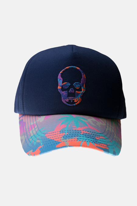 Lucien Pellat-Finet Skull Embroidered Cap - Blue