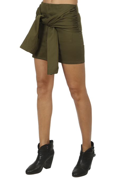 Harvey Faircloth Tie Sleeve Mini Skirt - Olive