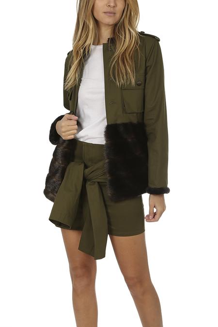 Harvey Faircloth Tie Sleeve Mini Skirt - Olive