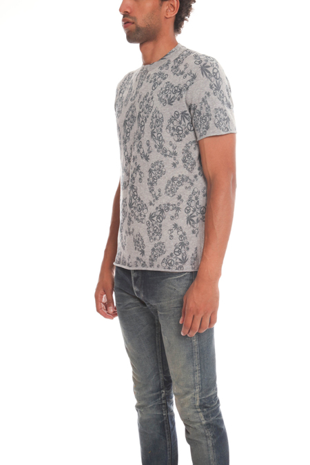 Lucien Pellat-Finet Paisley Print Graphic T-Shirt - Grey/Blue
