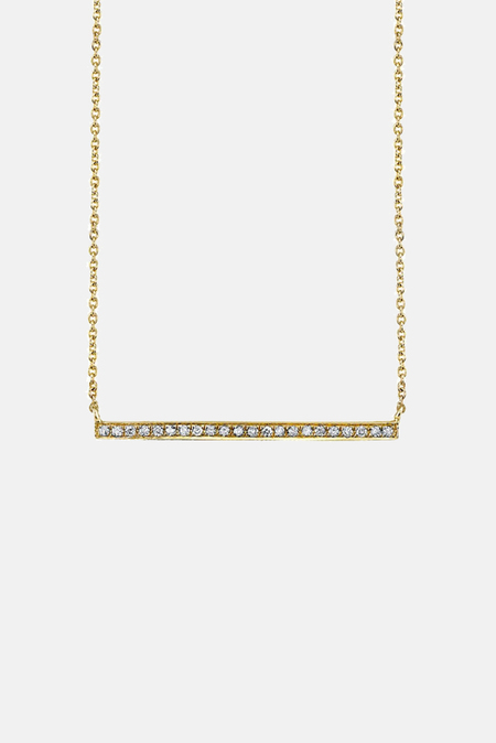 Sydney Evan Long Micropave Bar Necklace - Gold
