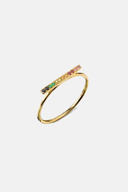 Sydney Evan Rainbow Bar Ring - 14k Yellow gold