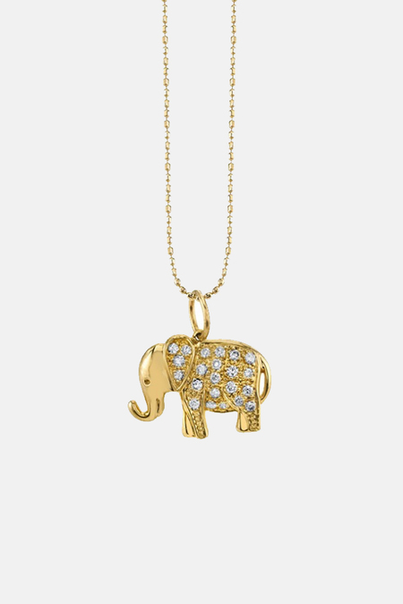 Sydney Evan Small Diamond Elephant Necklace - 14k yellow gold