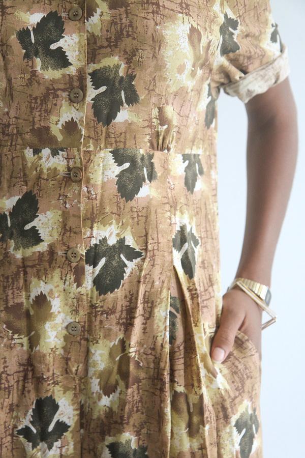 The Shudio Vintage Leaf Print Jumpsuit