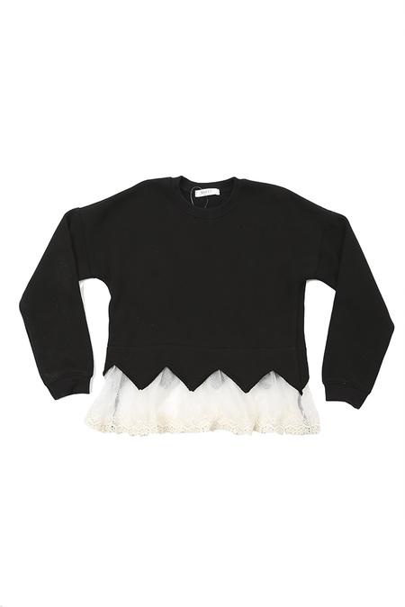 kids Hailey Lace Sweater - Black