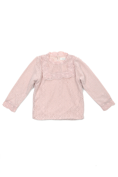 Kids Hailey Lace Tee Shirt - Pink
