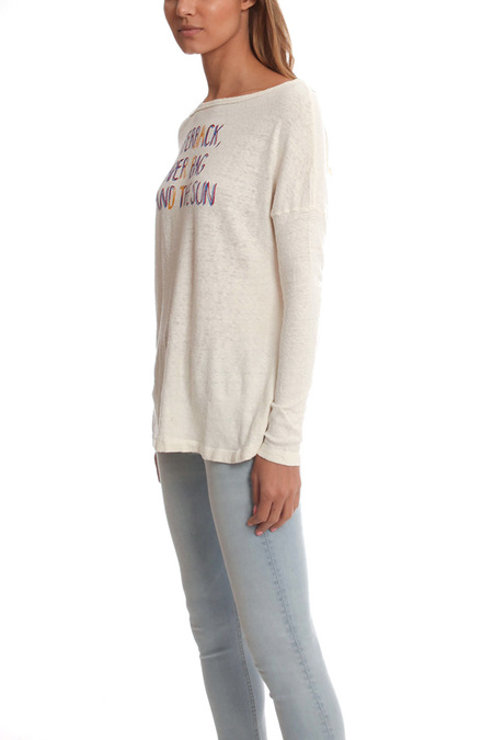 Via Spare Long Sleeve Scoop Top - White/Red