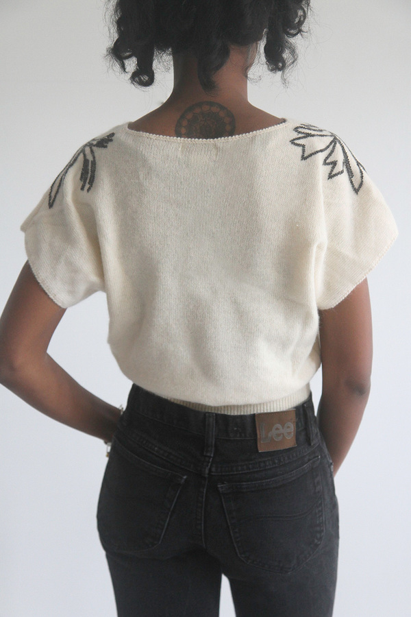 Cream Short Sleeve Sweater with Beaded Shoulders