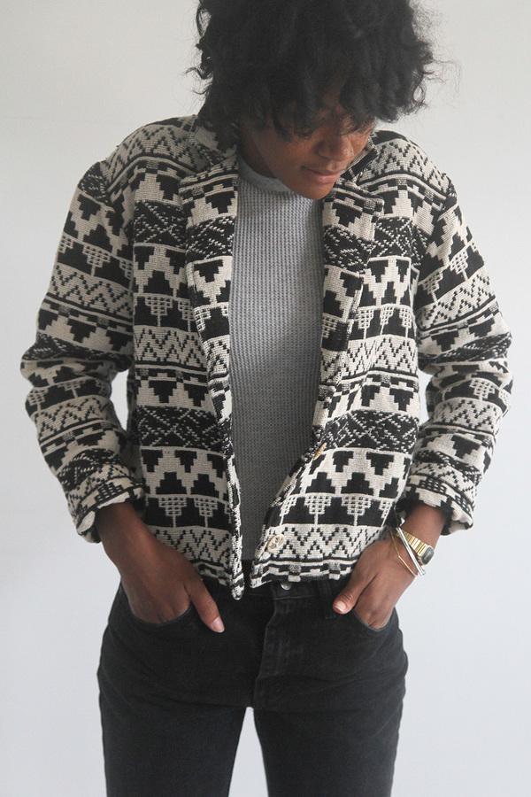 The Shudio Vintage Patterned Crop Jacket