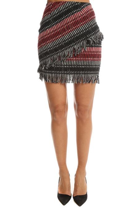 Nicholas Fringe Tweed Skirt - Multi