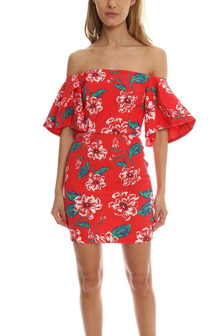 Nicholas Floral Tuck Sleeve Dress - Red Floral