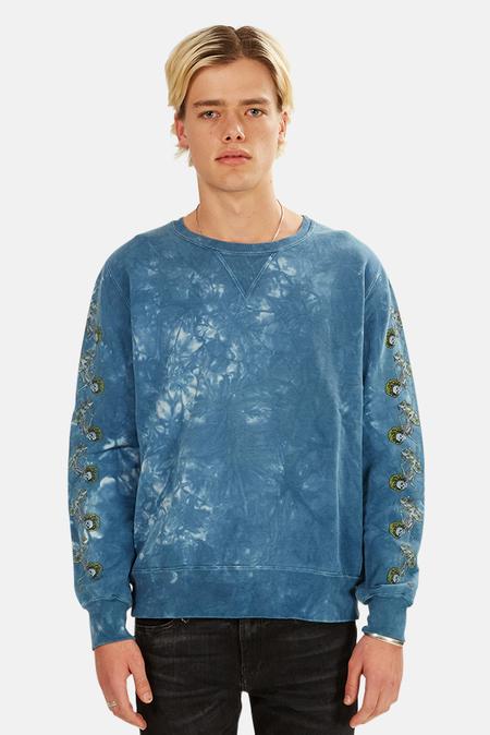 Remi Relief Tie Dye Fleece Crewneck Sweater - Indigo