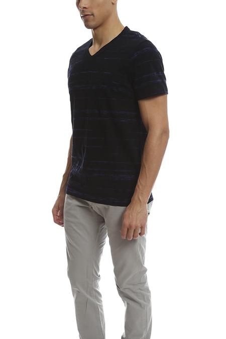 Vince Slub Cotton Shadow V Neck Classic T-Shirt - Navy