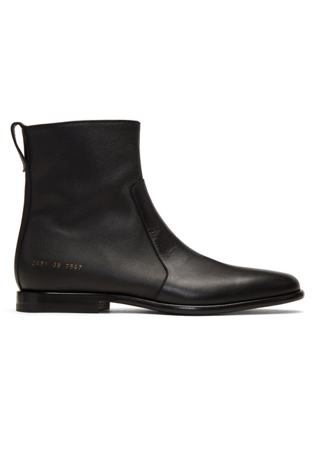Robert Geller x Common Projects Leather Chelsea Boot Shoes - Black