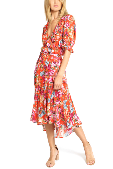 ICONS Cha Cha Wrap Dress - Red Floral