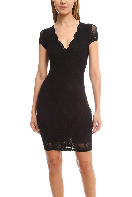 Nightcap Victorian Deep V Pencil Dress - Black