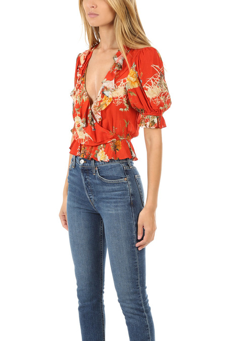 ICONS Ruffle Cha Cha Blouse - Red Floral