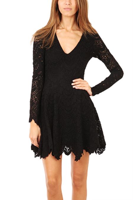 Nightcap Deep V Flirty Spanish Lace Dress - Black