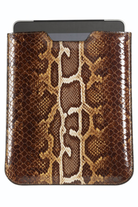 Graphic Image Faux Python Ipad Sleeve - Brown