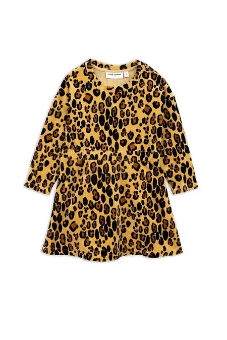 Kids Mini Rodini Velour Leopard Dress - Beige