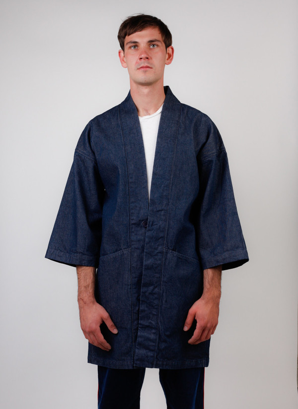 "Blue Selvedge Denim ""Haori"" Style Jacket"