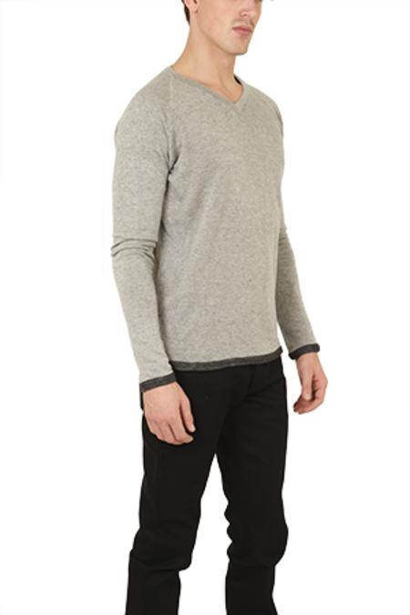 V::ROOM Gauze V Neck LS Top - Charcoal Grey